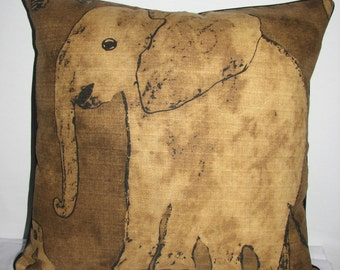 Elephant Print Pillow Cover
