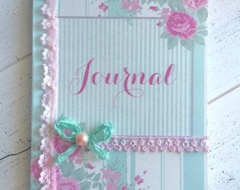 Shabby Chic Journal, Roses Journal, Cottage Chic Notebook, Pink and Green Journal, Shabby Chic Treasures Journal