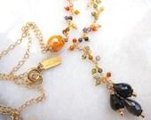 Vintage Orange Bead and Cubic Zirconia Y Necklace