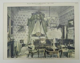 Hand Colored, Original Plan, Royal Suite Bedroom, Waldorf Astoria Hotel, New York, 1898. Hardenbergh, Architect(s). Architecture, Vintage