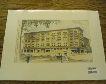 Brewer Building, E Avery Brewer, Worcester, Massachusetts, 1897, George Clemence, Architects. Hand Colored, Original Plan, Architecture