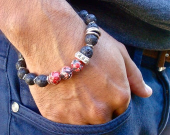 Men's Spiritual Healing, Courage, Patience Bracelet with Semi Precious Red Howlite, Lava, Bali Beads, Carved Wood - Bohemian Man Bracelet