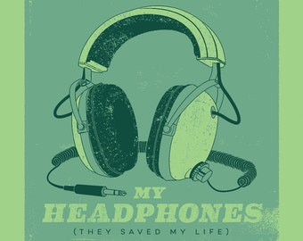 My Headphones 12p5  x 12p5 Screenprint