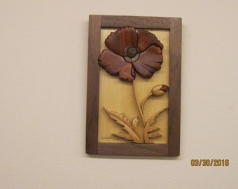 POPPY  Flower IV  Intarsia hand carved gift by Rakowoods, flower gift  anniversaries, birthdays, wedding, wall decor,Christmas,house warming
