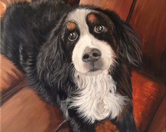 12x12 custom spaniel portrait painting on canvas hand painted dog cat pet gift