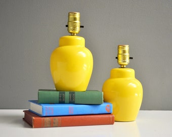Pair of Petite Vintage Yellow Lamps