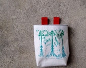 ARROWS.blue..handcarved, blockprinted, rock climbing chalk bag..1-3day order