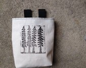 RESERVED FOR KELSIE ...4 trees..handcarved, blockprinted, rock climbing chalk bag..1-3day order
