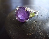 Rose - Genuine Amethyst & Peridot Ring - 925 Sterling Silver Ring - Carved Flower Ring - Heart Cut Peridot - Statement Ring - One Of A Kind