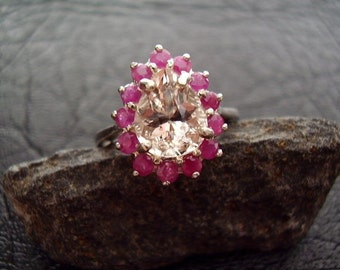 Genuine Morganite Pink Beryl & Ruby Pear Halo Ring - 925 Sterling Silver Ring -Alternative Engagement Ring -Nontraditional Wedding Ring OOAK