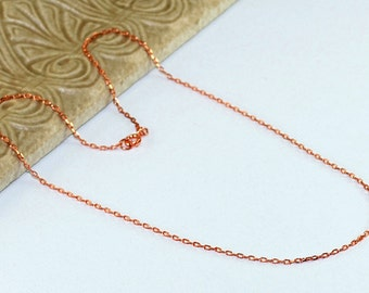 Copper Chain Necklace Thin 14 16 18 20 22 24 26 28 30 32 34 36 Flat Cable 2.8mm Delicate Copper Chain Necklace Finished Chain