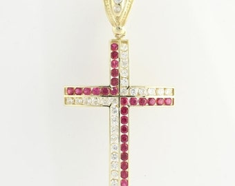 30% OFF Large Cross Pendant - 10k Yellow Gold Cubic Zirconia Synthetic Ruby Fashion CZ X8631