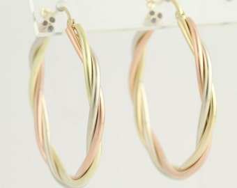 Twisted Hoop Earrings - 14k Yellow, White, & Rose Gold Pierced N538