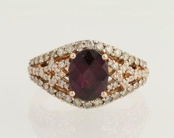 Rhodolite Garnet & Chocolate Diamond Ring 14k Rose Gold Cocktail 0.80ctw N1485