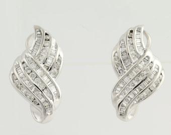 Diamond Crossover Drop Earrings - 14k White Gold Pierced Genuine 1.50ctw L7056