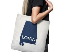 Alabama Tote Bag // Auburn Blue // Unique Gift // Home State Love // white canvas tote with black inside handle