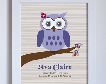 Fathers Day Sale Nursery Wall Decor, Owl Birth Name Print, Choose Colors, Unframed