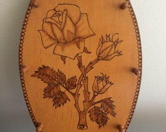 Handmade Wood Burned Jewelry Holder Necklace Holster Wall Mount Home Decor Rose Southwestern Boho Hippie Gypsy OOAK Flower Child Western