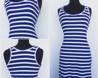 Maxi Dress With Nautical Blue And White Stripes Plus Size