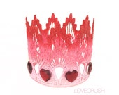 NEW    Cupids Crush    Valentine Ombre lace crown with heart jewels    photography prop    Sienna   