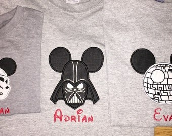Darth Vader, Death Star, Storm Trooper Star Wars Inspired Embroidered Shirt