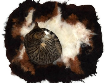 Alpaca Cat Bed Cruelty Free Rustic Primitive Felted Fleece Rug - MultiPaca - Supporting Small US Farms - Not a Skin - This is Better