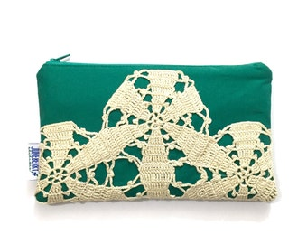 Zipper Pouch with Vintage Lace