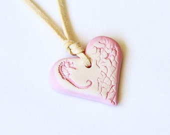 Baby Pink Seahorse Heart Necklace / Seahorse Jewelry / Gift for Girls / Handmade OOAK