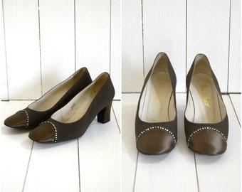Vintage 60s Maria di Marco brown satin and rhonestone heels / Italian pumps