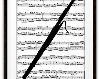 Bassoon Silhouette Music Book Page Art Print, Home & Living, Bassoon Player, Gifts Ideas, Marching Band, Symphony Orchestra, Dorm Room