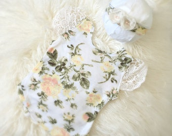 Newborn Floral Print Romper Set  baby girl, onesie, bodysuit, jumper, clothing, accessories, photography prop, stretch headband