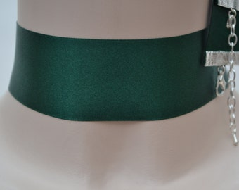 Plain Classic DEEP GREEN Double Satin WIDE 35mm 1.5 inch Ribbon Choker Necklace- fg... or other colours, please have a look :)