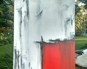 Reserved for Shelly,Acrylic Abstract Painting, Red, Black, & White, Original Painting on Canvas, Large Canvas Art, 36x24 by Heather Day