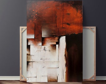 Abstract Painting, Stretched Painting on Canvas, Orange & Brown Painting, Original Painting, Textured Painting, Art, 36x24 by Heather Day