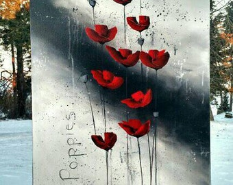 Abstract Flower Painting Red Poppies Painting Red White & Black Abstract Flowers Floral Painting Original Painting Canvas Heather Day