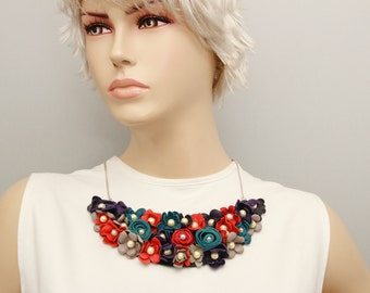 Bib necklace genuine leather  necklace  , bip necklace