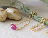 14k Solid Gold: Natural untreated ruby petite necklace