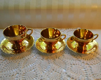 Royal Winton Grimwades GOLDEN AGE, 3 Different Size Cups and Saucers