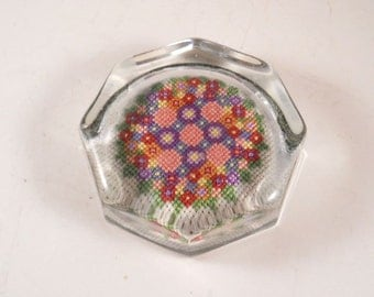 Vintage Needlepoint Paperweight Lucite Pink Purple Clear