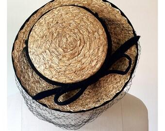 1950s Straw Topper Hat --> 1950s Hat --> 50s Hat --> 1950s Summer Hat --> 1950s Straw Hat --> Vintage Millinery --> Vintage Hat --> 1950 Hat