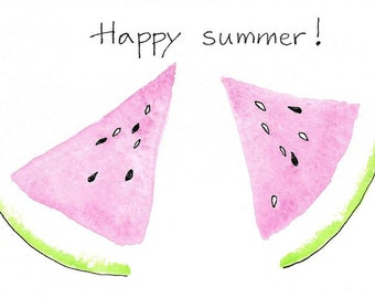 Teacher GIft Hand-Painted Note Cards PERSONALIZED for FREE With a NAMEor Happy summer! Watermelon Cards Birthday Gift for Mom Hostess Gift