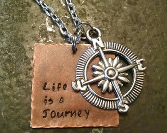 Life is a Journey necklace, compass necklace, life is a journey jewelry