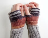 Hand Knit Fingerless Gloves . Winter Fashion . Girls Women . Valentines Day . Love . Brown color and Beige