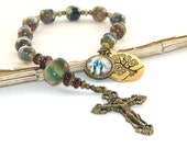 Catholic Man's Decima Rosary, Brass Crucifix, Our Lady of Grace & Tree of Life Medals