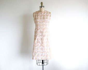 Vintage 60s  Shift Dress, 1960 Mod Dress, Sleeveless Cotton Dress, Plaid Dress, Sweet Sixties, Metal Zipper Dress