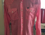 Fitted Wrangler Western Red Gingham Shirt - Size Small