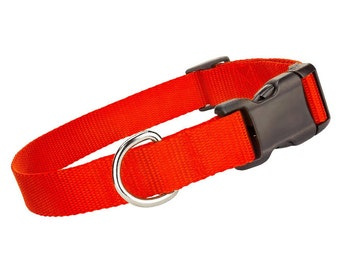 Deluxe Orange Nylon Collar - Nylon Dog Collar - Orange Pet Collar - Adjustable Dog Collar - Nylon Orange Dog Collar