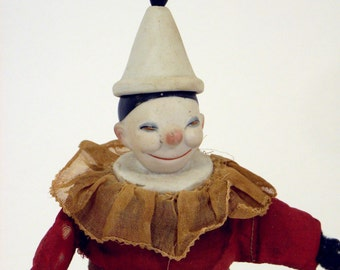 RARE-German-Toy-Clown-Bisque-Mechanical-Marked-Germany-6326