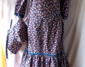 Prairie Dress with Bonnet Country Dress Antique Dress Plus Size Petite