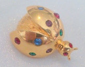 Vintage Gold Tone Multi Color Rhinestone Ladybug Scatter Pin